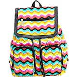 Luv Betsey Johnson Womens Flap Backpack - Quilted Hearts Rainbow