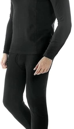 Ekouaer Men's Cotton Thermals Long Johns Underwear Baslayer Set Top&Bottom(Black,X-Large)
