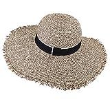 Womens Sun Straw Hat Wide Brim UPF 50 Summer Hat Foldable Roll up Floppy Beach Hats for Women (SH046 Mixed Khaki, L (Head Circum 22.6'- 23.2'))