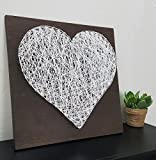 "12""x12"" Heart Wood Sign, Nail and String Wall Art, Home Decor for the Living Room, Bedroom, Dining Room and More"