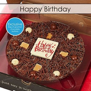 7 Inch Happy Birthday Chocolate Pizza Surprise Exclusive Bag of Gourmet Belgian Milk Chocolate Buttons – Gourmet Chocolate Pizza Company 610zH52VVPL