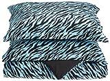 Divatex Microfiber Zebra Comforter Mini Sets, King, Aqua/Black