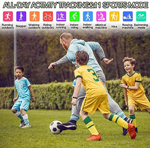 K-berho Slim Fitness Tracker for Kids Women Men,Heart Rate Monitor,IP68 Waterproof Activity Tracker for Boys&Girls,Blood Pressure,11 Sport Modes Health Smart Watch with Pedometer 3