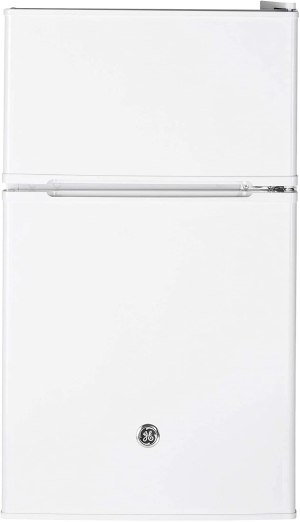 GE Appliances 3.1 Cubic Foot Freestanding Double Door Compact Refrigerator, White