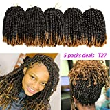 Spring Twist Crochet Braiding Hair 5 Pack T1B/27 Ombre Colors Synthetic Hair Extensions(8-Inch,110g)
