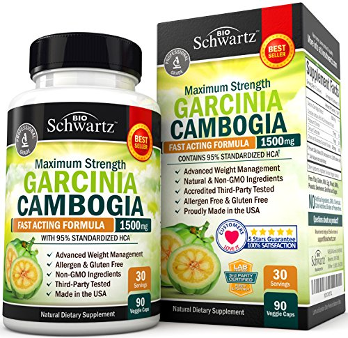 Garcinia Cambogia 95% HCA Pure Extract with Chromium. Fast Acting Appetite Suppressant, Extreme Carb Blocker & Fat Burner Supplement for Weight Loss & Fat Metabolism Best Garcinia Cambogia Diet Pills