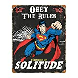 "PARTY ANIMAL VSSM Superman Embossed Metal Sign, 14.5"" x 11.5"", Black"