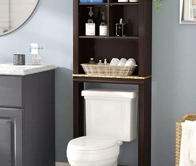 Amazon Com Milledgeville Bathroom Storage Space Saver Over Toilet Cabinet Organizer W Shelves 68 H In Cherry Finish Kitchen Dining