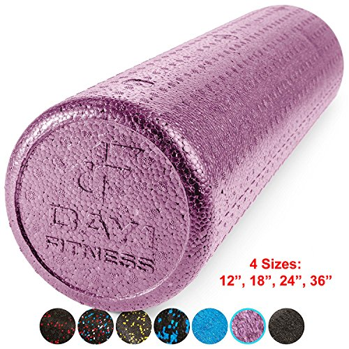 High Density Muscle Foam Rollers by Day 1 Fitness - Sports Massage Rollers for Stretching, Physical Therapy, Deep Tissue and Myofascial Release - For Exercise and Pain Relief - Solid Purple, 24'