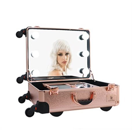 LUVODI Rolling Cosmetic Makeup Case Pro Studio Makeup Train Case with 6 LED Lights 2 Trays Large Makeup Artist Organizer for Studio and Artist Making Up Rose Gold