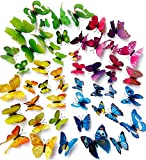 Topixdeals 48PCS 3D Butterfly Stickers Wall Stickers Crafts Butterflies with Sponge Gum and Pins (4 Color)