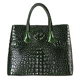 Rimen & Co. Genuine Leather Solid Crocodile Pattern Large Tote Womens Purse Handbag 22110