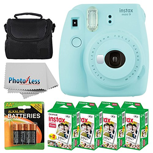 Fujifilm instax mini 9 Instant Film Camera (Ice Blue) + Fujifilm Instax Mini Twin Pack Instant Film (80 Shots) + Camera Case + 4 AA Batteries + Photo4Less Cleaning Cloth – Ultimate Accessory Bundle
