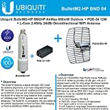 Ubiquiti BulletM2-HP BM2HP 600mW Outdoor + POE-24 12W + 2.4GHz 24dB Grid Antenna