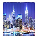 Feierman New York City Night Shower Curtain Decor Bright Lights Modern City Bathroom Curtain Decor Machine Washable Fabric Bathroom Decor Set with Hooks 70x70Inches