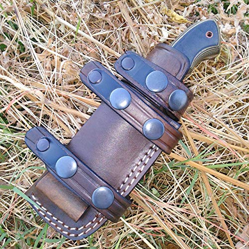 Ottoza Custom Handmade Dark Brown Right Hand Leather Knife Sheath for Bushcraft Knife - Hunting Knife - Camping Knife - Survival Knife - Fixed Blade Knives Horizontal Scout/Cow- Buffalo Leather No:126