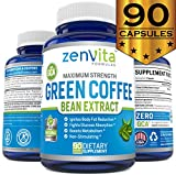 Pure Green Coffee Bean Extract - 90 Capsules, with GCA Green Coffee Antioxidant, Non-GMO & Gluten Free, Standardized 50% Chlorogenic Acid, Maximum Strength Green Coffee Bean Extract for Weight Loss