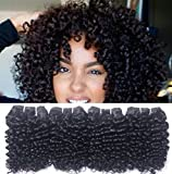 Brazilian Kinkys Curly Human Hair 4 Bundles Weave Kinkly Cury Virgin Remy Kinky Curly Remi Short Kinkys Curl Unprocessed Real Natural Human Hair Extensions 8A Grade Natural Black Color 8 Inch 50g/pc