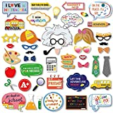 Konsait 46Count Back to School Photo Booth Props First Day of School Decorations Party Supplies Favors for Kids Girls Boys Kindergarten Pre-School High School Back to School Classroom Decorations