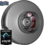 Vortex 6' Inch 497 CFM Inline Power Fan   FREE Active Air Controller and FREE Sticker   VTX Series Round Centrifugal Fan   Aerodynamic Design for Optimized Cooling and Airflow   Maintenance-Free