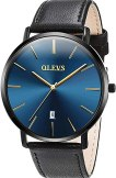Amazon.com: Mens Watches Ultra Thin Minimalist Black Blue Dial ...