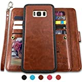 Galaxy S8 Plus Cases,Magnetic Detachable Lanyard Wallet Case with [8 Card Slots+1 Photo Window][Kickstand] for Galaxy S8 Plus-6.2 inch, CASEOWL 2 in 1 Premium Leather Removable TPU Case(Brown)