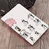 Case for Samsung Galaxy T820 T825 Slim Folding Stand Cover PU Tab S3 9.7,Wedding Decorations,Bride and Groom Wedding Pictures in Comic Book Style Honeymoon,White Black Pink