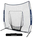 PowerNet Team Color Baseball Softball 7x7 Hitting Net w/ bow frame (Navy)
