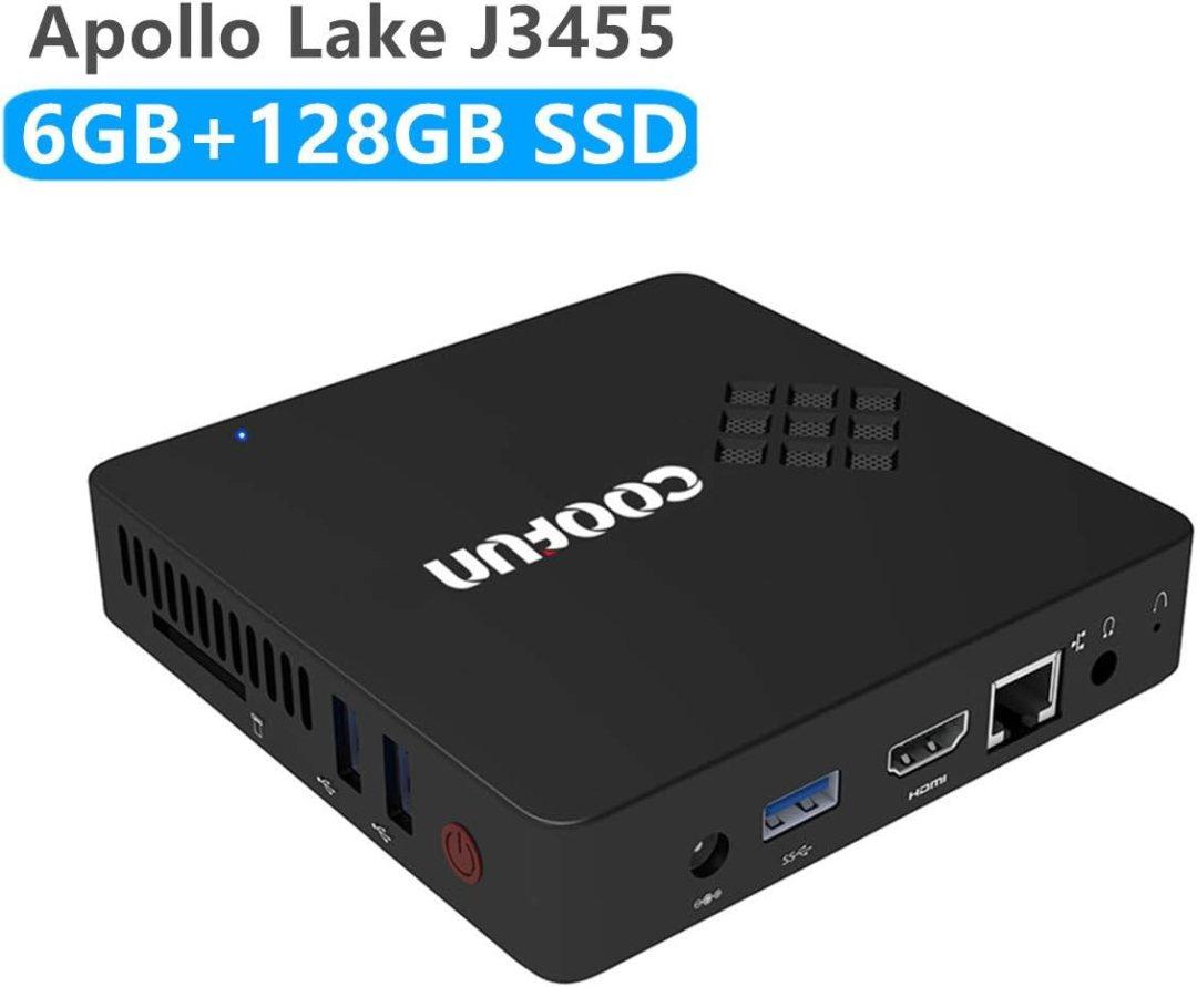 Mini PC Intel Apollo Lake Celeron J3455 (jusqu'à 2,3 GHz), 6G DDR3 / SSD 128 Go Windows 10 Pro HDMI & VG Display 2.4G + 5G Dual WiFi USB 3.0 / BT 4.2 Charge de Linux, WOL et PXE Boot