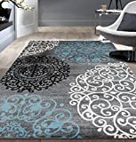 Contemporary Modern Floral Indoor Soft Area Rug 3'3' x 5' Gray