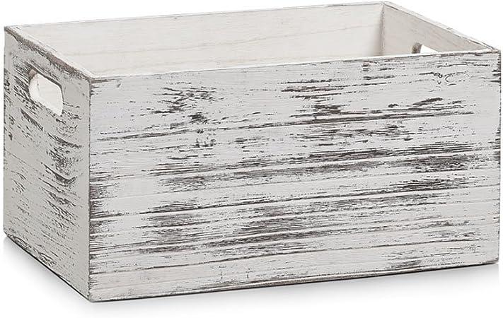 Zeller 15133 Caja de Almacenamiento, Madera, Blanco,