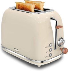 2 Slice Toaster, KitchMix Retro Stainless Steel Bread Toasters with 6 Settings, 1.5 In Extra Wide Slots, Bagel/Defrost/Cancel Function