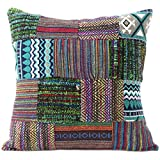 Eyes of India - 16' Purple Green Dhurrie Patchwork Decorative Pillow Throw Sofa Cushion Cover Couch Bohemian Indian Colorful Boho Cover ONLY