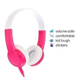 BuddyPhones Explore | Kids Headphones | Non-Foldable, Durable, Comfortable | Kids Safe Volume Limiting Headphones with Audio Splitter & Mic | Pink