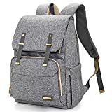 Diaper Bag Backpack, Large Baby Bags for Boys and Girls Waterproof Travel Back Pack Stylish for Mom and Dad with Changing Pad, Insulated Pockets (Gray)