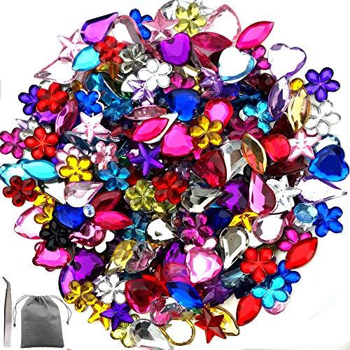 JPSOR 600pcs Gems Acrylic Flatback Rhinestones Gemstone Embellishments, 6 Shapes, 6-13mm, with Tweezers and Bag