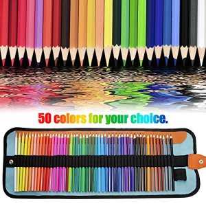 FUNHOUR 50 Colored Pencils Set Color Drawing Pencils kit With Portable Roll-Up Canvas Bag Case & Sharpener Ideal for Adults Kids Artists Painting Vivid Coloring Drawing Art Tool Back To School Supply