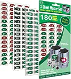 Mechanics Master Set 'Economy Edition' ( Green) 180 Piece Chrome foil Labeling Set for Socket Sets 1/4', 3/8', 1/2' Drives, Torx, Jumbo's and Extra Sizes, tag 180 Sockets 'Quick and Easy'...