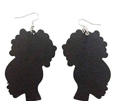 """Afro Puff""/Afro Girl Earrings (Black)"