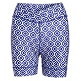 Zuma Blu Women's Padded Bike Shorts with Pockets - Tummy Control Top High-Waist Cycling Short - Colorful Print Biking Shorts (Ikat Blue, Large)