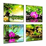 Canvas Prints Zen Art Wall Decor - Spa Massage Treatment Painting Picture Print on Canvas Framed Ready to Hang - Red Orchid Frangipani Bamboo Waterlily Black Stone in Garden - 4 Panel Giclee Art Work