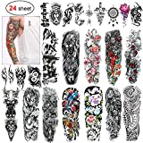 Konsait 24 Sheets Large Temporary Tattoos Full Arm and Half Arm Tattoo Sleeves Temporary Sleeve Tattoos Large Fake Body Art Arm Chest Shoulder Tattoo Black tattoo Body Stickers for Man Women