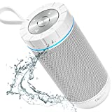 COMISO Bluetooth Speaker Portable Waterproof Outdoor Wireless Speakers with Enhanced Bass, Sync Together, Built in Mic, Auto Off, Up to 24 Hours Playtime for Beach, Shower & Home (White)
