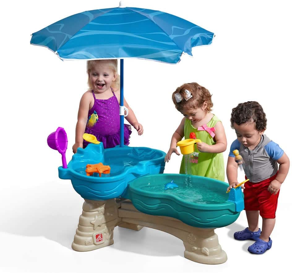 Amazon Com Step2 Spill Splash Seaway Water Table Kids Dual Level Water Play Table With Umbrella 11 Pc Accessory Set Large Water Table Toys Games