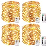 Kohree String Lights LED Copper Wire Fairy Christmas Light with Remote Control, 33ft/10M 100LEDs, 4 Packs 8 Modes AA Battery Powered, Waterproof, Seasonal Decor Rope Lights for Holiday, Wedding
