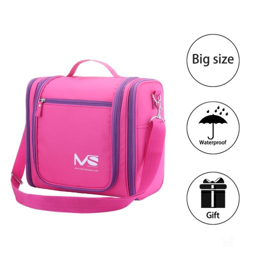 a18248af3338 Review MelodySusie® Hanging Toiletry Bag   Travel Bag – A Great Choice of  Big Size Waterproof Toiletry Bag for Outdoor Activities (Elegant Rosy)