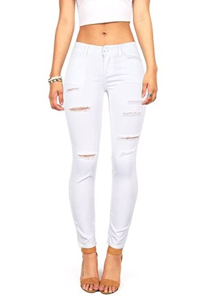 Wax Women's Juniors Mid-Rise Skinny Jegging Jeans w Distressing (3, White)
