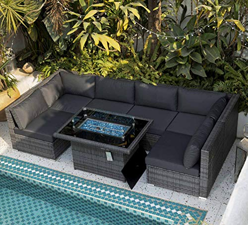 Nicesoul 118 7 L Pe Rattan Patio, Outdoor Patio Furniture Sectional