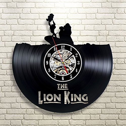 The Lion King Art Vinyl Wall Clock Gift Room Modern Home Record Vintage Decoration