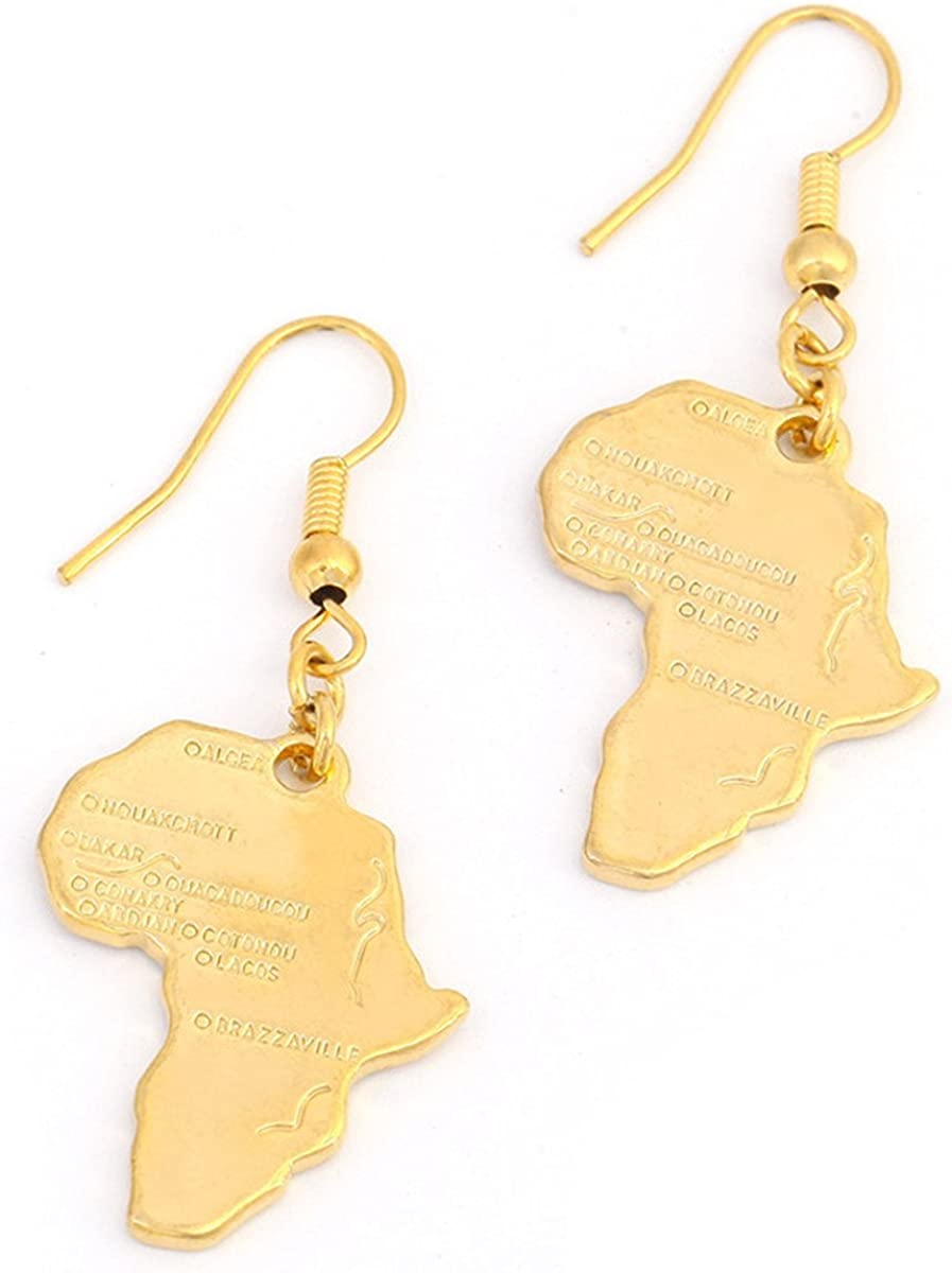 Big Size Crystal Africa Map Pendant Necklace Women Girl 24K Gold Plated African Map Hiphop Item